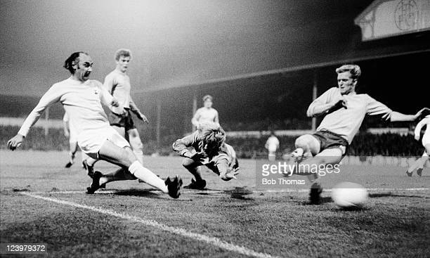 Alan Gilzean of Tottenham Hotspur scores past the Keflavik defence at White Hart Lane in London circa 1971