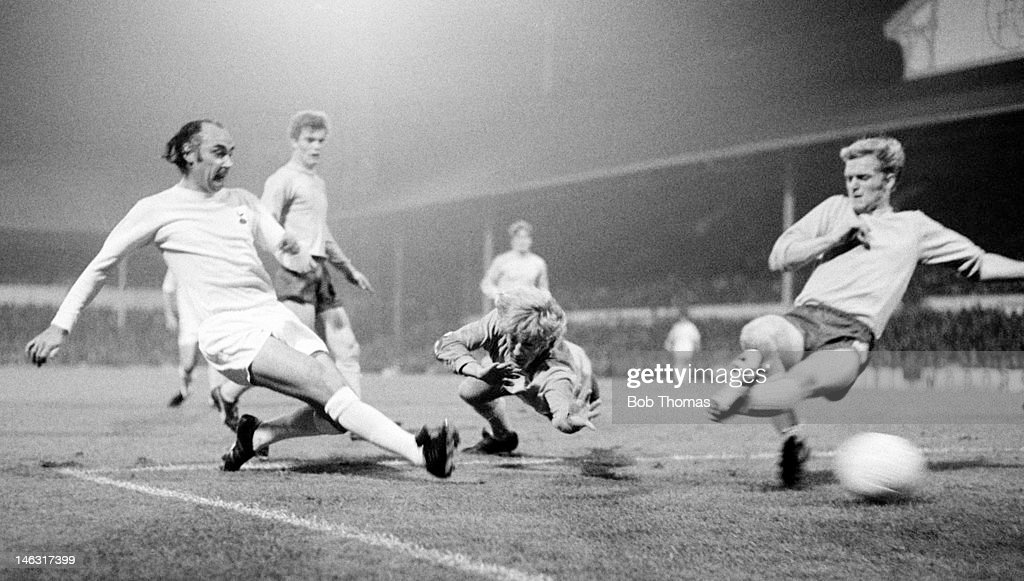 Alan Gilzean scores for Tottenham Hotspur during their UEFA Cup 1st round 2nd leg match against Keflavik at White Hart Lane in London, 28th September 1971.Tottenham Hotspur won 9-0 on the night and 15-1 on aggregate, with Alan Gilzean scoring a total of 5 goals in the two matches.