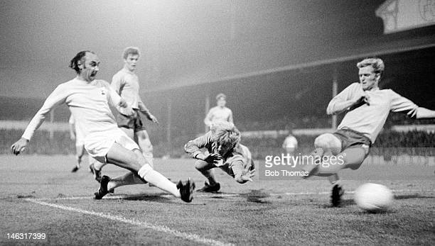 Alan Gilzean scores for Tottenham Hotspur during their UEFA Cup 1st round 2nd leg match against Keflavik at White Hart Lane in London 28th September...