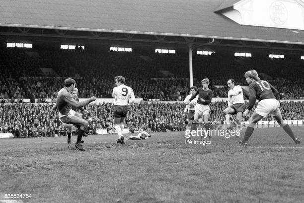 Alan Gilzean scores Tottenham's fourth goal at White Heart Lane against Burnley