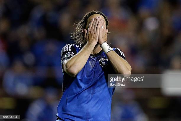 Alan Gordon of San Jose Earthquakes reacts after missing a shot on goal during their game against the Colorado Rapids at Buck Shaw Stadium on May 7...