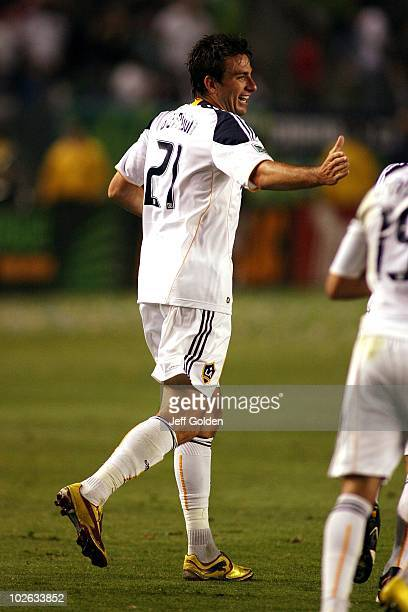Alan Gordon of the Los Angeles Galaxy celebrates after his goal against the Seattle Sounders FC on July 4 2010 at the Home Depot Center in Carson...