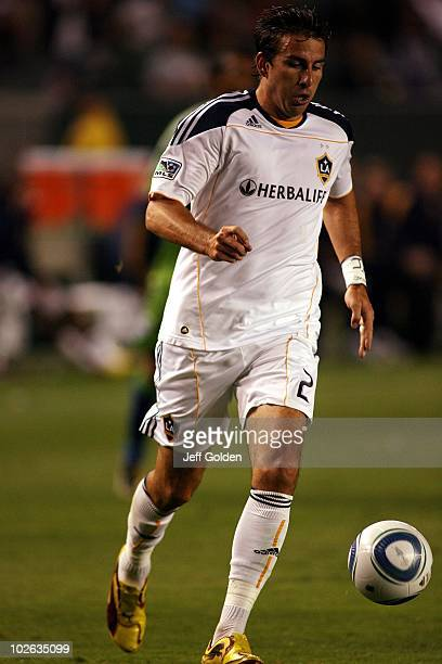 Alan Gordon of the Los Angeles Galaxy controls the ball moments before scoring a goal against the Seattle Sounders FC on July 4 2010 at the Home...