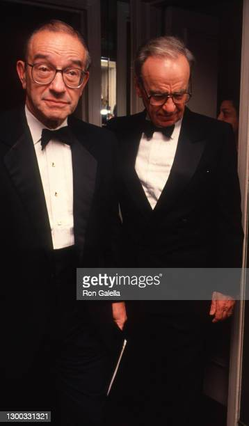 Alan Greenspan and Rupert Murdoch attend 36th Annual Cerebral Palsy Humanitarian Awards at the Waldorf Hotel in New York City on January 10, 1991.
