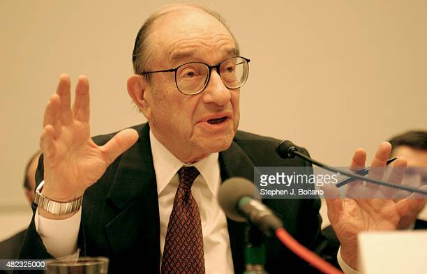 Alan Greenspan Chairman of the US Federal Reserve appears before the House Financial Services Committee to give his semiannual Monetary Policy Report...