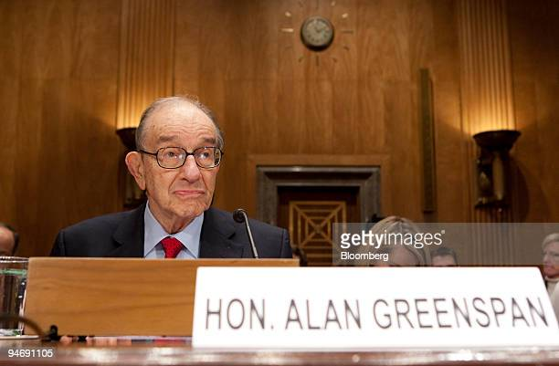 Alan Greenspan former chairman of the US Federal Reserve arrives to speak during a Senate Homeland Security and Government Affairs Committee hearing...