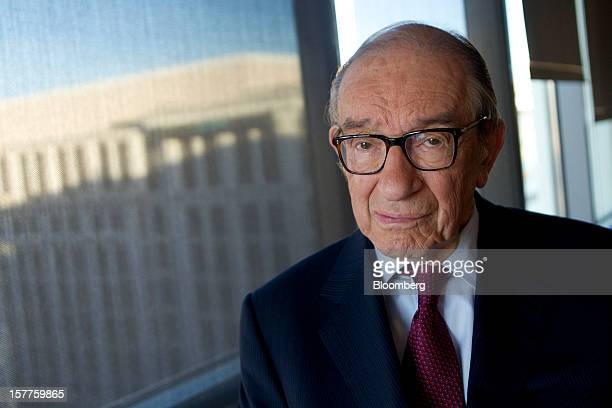 Alan Greenspan former Federal Reserve chairman sits for a photograph following a Bloomberg Television interview in Washington DC US on Thursday Dec 6...