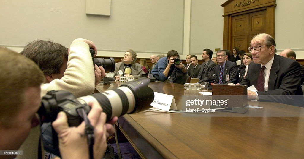 Alan Greenspan testifying before the Financial Services Committee on Wednesday.