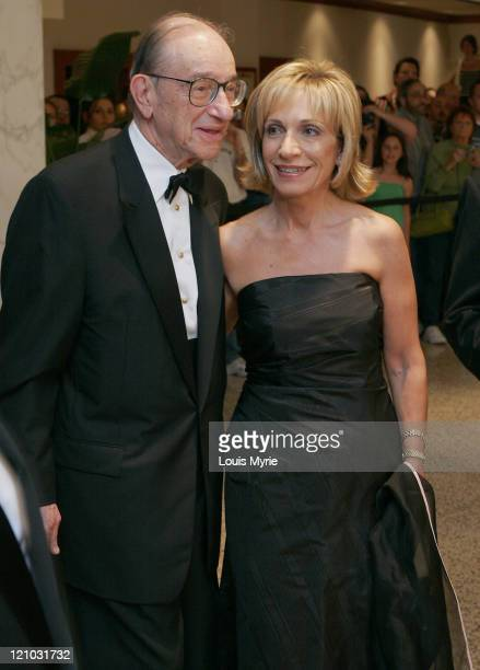 Alan Grennspan chairman of the Federal Reserve and wife Andrea Mitchell NBC Senior White House Correspondent