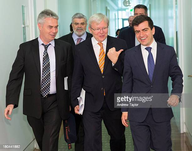 Alan Griffin Kevin Rudd and Sam Dastyari leave the Caucus meeting on September 13 2013 in Canberra Australia Albanese announced today he will stand...