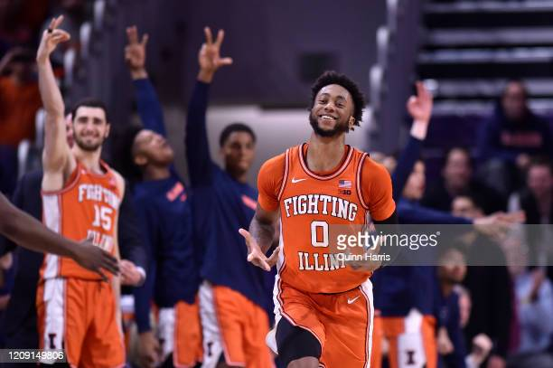 Alan Griffin of the Illinois Fighting Illini reacts after making a three point basket in the second half against the Northwestern Wildcats at...