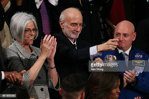 Alan Gross recently freed after being held in Cuba since 2009 points back at US President Barack Obama after being recognized during the State of the...