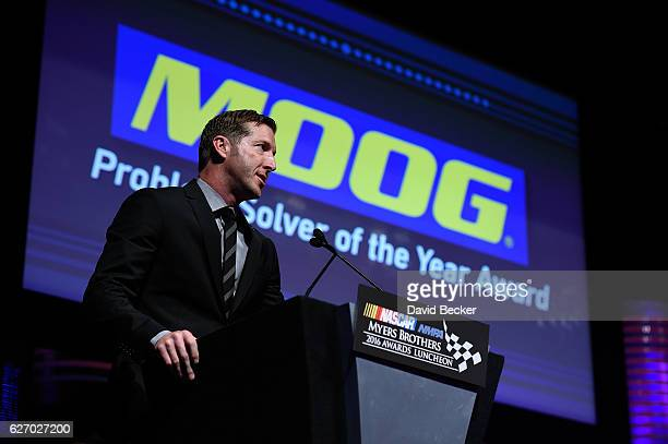 Alan Gustafson crew chief of the Chevrolet speaks after receiving the MOOG Steering Suspension Problem Solver of the Year Award during the NASCAR...