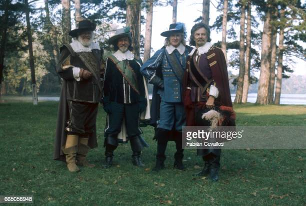 Alan Hale, Jr., Jose Ferrer, Lloyd Bridges, and Cornel Wilde play the roles of Porthos, Athos, Aramis, and D'Artagnan in the 1979 British film, The...