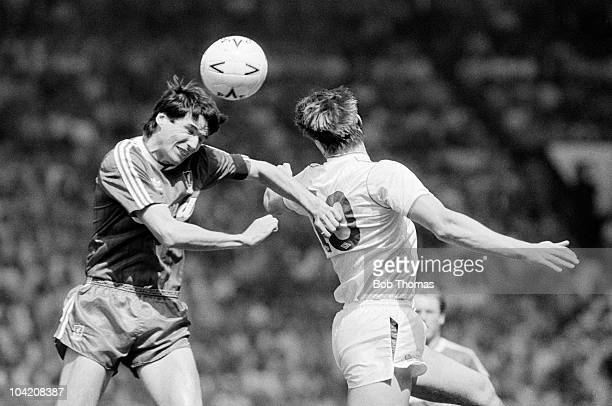 Alan Hansen of Liverpool clashes with Nottingham Forest striker Lee Chapman during their FA Cup SemiFinal at Old Trafford Liverpool on 7th May 1989...
