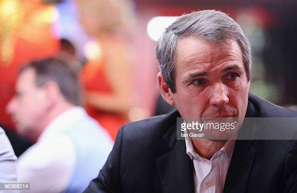 Alan Hansen takes part in the PokerStars Chips For Charity Tournament at the Les Abassadeurs Club on February 2, 2010 in London, England.