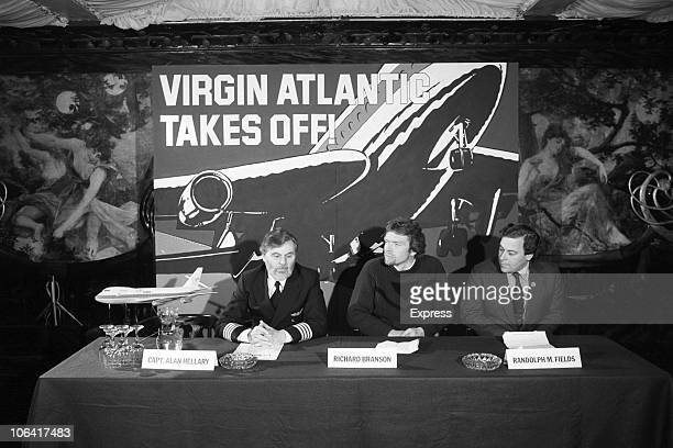 Alan Hellary Richard Branson and Randolph Fields hold a press conference before the launch of Virgin Atlantic Airways in February 1984