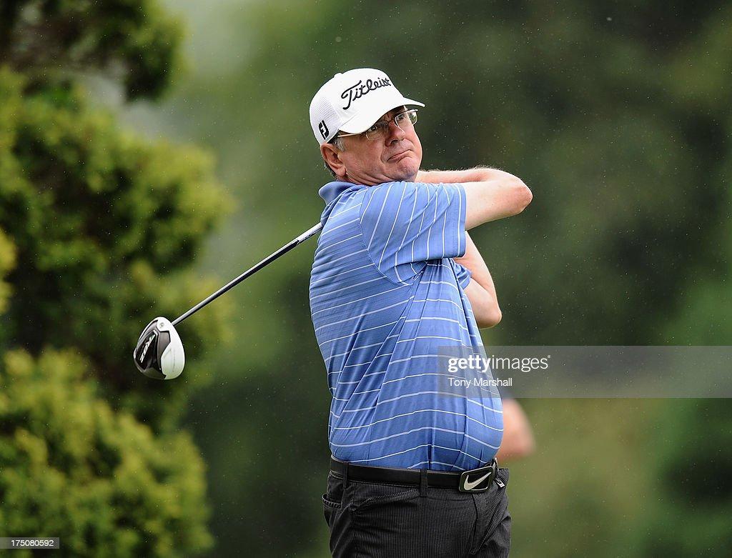 Alan Hemsley of Barnham Broom Golf Club on the 1st tee during The Golfplan Insurance Pro Captain Challenge - Regional Qualifier at John O'Gaunt Golf Club on July 31, 2013 in Bedford, England.