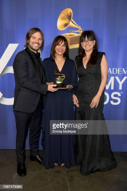 Alan Hicks Rashida Jones and Paula DuPré Pesmen accept the Best Music Film award for 'Quincy' at the 61st Annual GRAMMY Awards Premiere Ceremony at...
