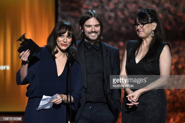 Alan Hicks Rashida Jones and Paula DuPre Pesmen accept the award for Best Music Film for 'Quincy Quincy Jones' during the 61st Annual Grammy Awards...