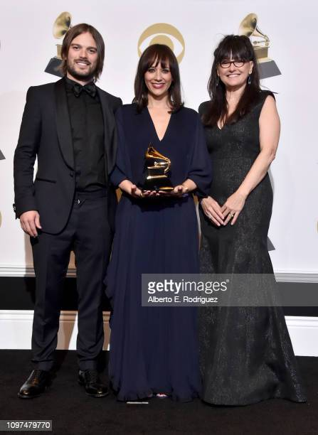 Alan Hicks Rashida Jones and Paula DuPre Pesmen winners of Best Music Film for 'Quincy' pose in the press room during the 61st Annual GRAMMY Awards...
