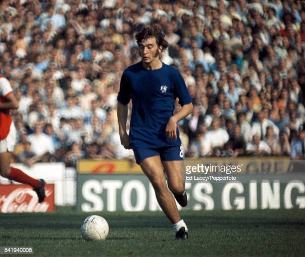 Alan Hudson in action for Chelsea during their First Division match against Arsenal at Stamford Bridge in London 29th August 1970