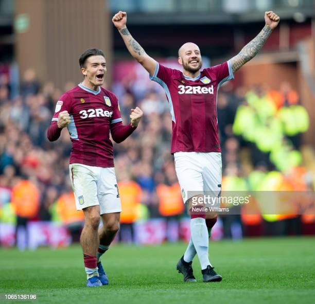 Alan Hutton and Jack Grealish of Aston Villa celebrate at the end of the Sky Bet Championship match between Aston Villa and Birmingham City at Villa...