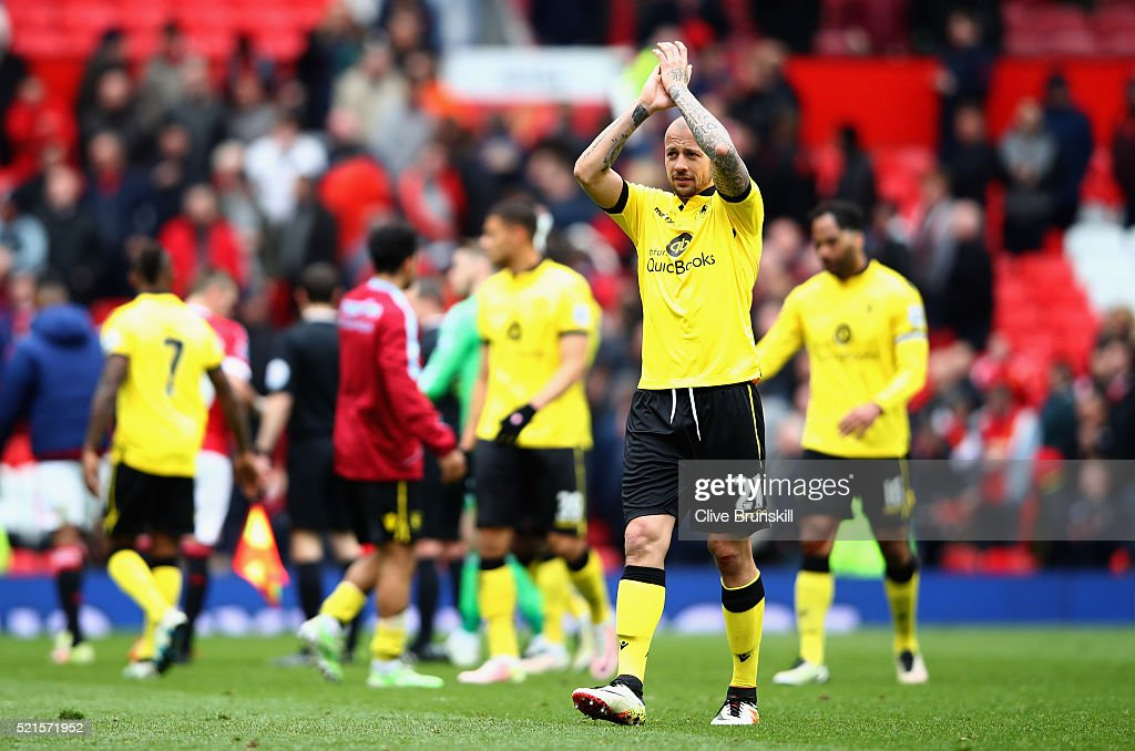 Alan Hutton of Aston Villa applauds the fans after his team were relegated during the Barclays Premier League match between Manchester United and Aston Villa at Old Trafford on April 16, 2016 in Manchester, England.