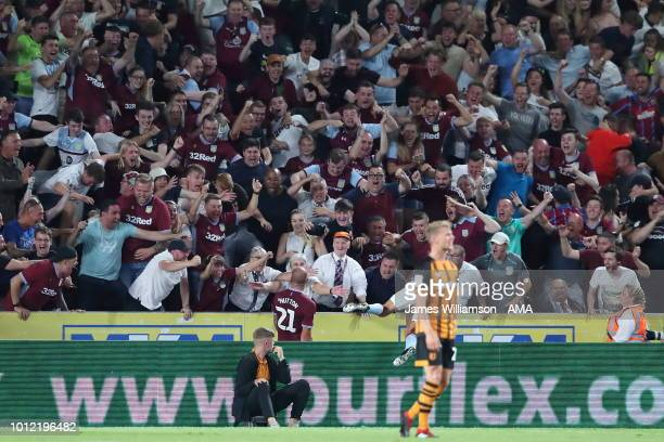 Alan Hutton of Aston Villa celebrates after scoring a goal to make it 3-1 during the Sky Bet Championship match between Hull City and Aston Villa at...