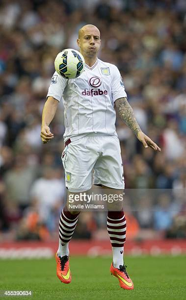 Alan Hutton of Aston Villa during the Barclays Premier League match between Liverpool and Aston Villa at Anfield on September 13 2014 in Liverpool...
