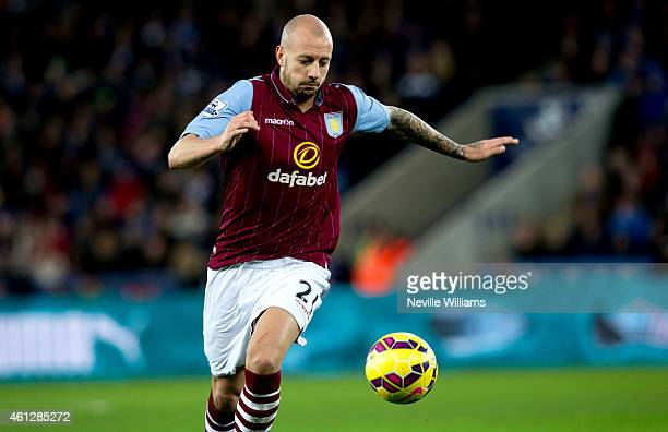 Alan Hutton of Aston Villa during the Barclays Premier League match between Leicester City and Aston Villa at the King Power Stadium on January 10...