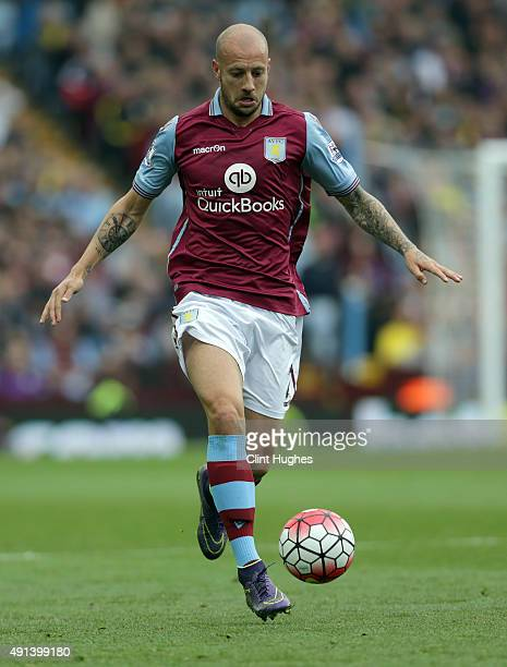Alan Hutton of Aston Villa during the Barclays Premier League match between Aston Villa and Stoke City at Villa Park on October 3 2015 in Birmingham...