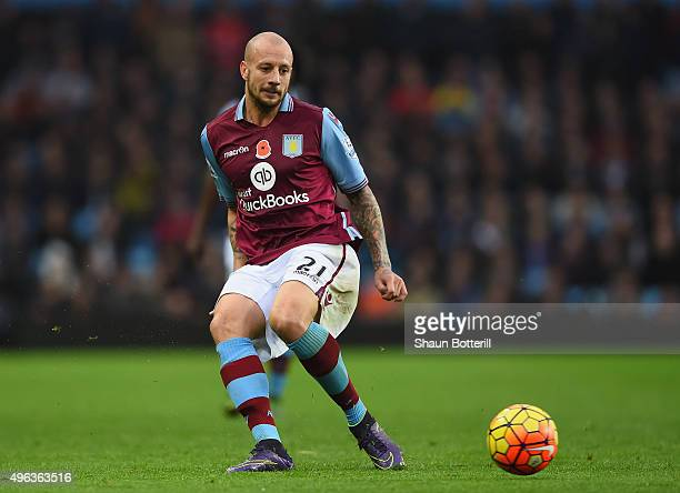 Alan Hutton of Aston Villa during the Barclays Premier League match between Aston Villa and Manchester City at Villa Park on November 8 2015 in...