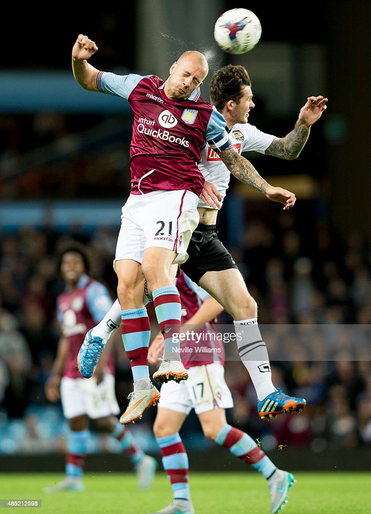 Alan Hutton of Aston Villa during the Capital One Cup Second Round match between Aston Villa and Notts County at Villa Park on August 25, 2015 in Birmingham, England.