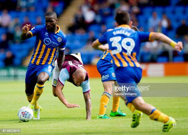 Alan Hutton of Aston Villa during the PreSeason Friendly match between Shrewsbury Town and Aston Villa at the Greenhous Meadow on July 15 2017 in...