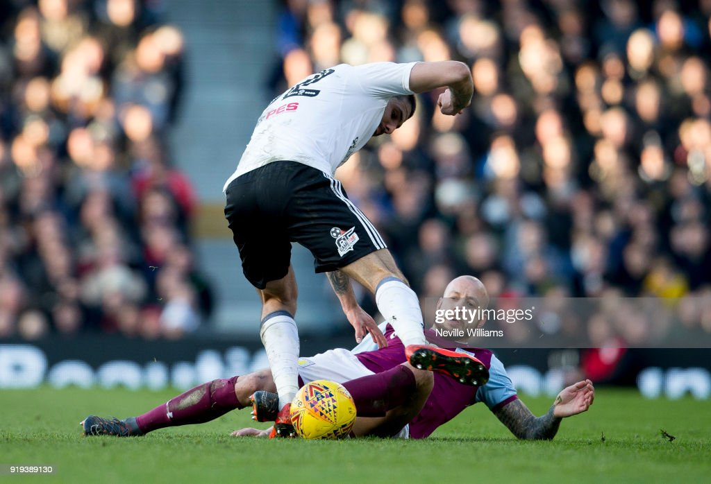 Alan Hutton of Aston Villa during the Sky Bet Championship match between Fulham and Aston Villa at Craven Cottage on February 17, 2018 in London, England.