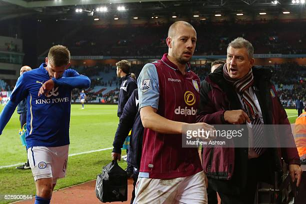 Alan Hutton of Aston Villa goes off at the end of the game after scoring the winning goal