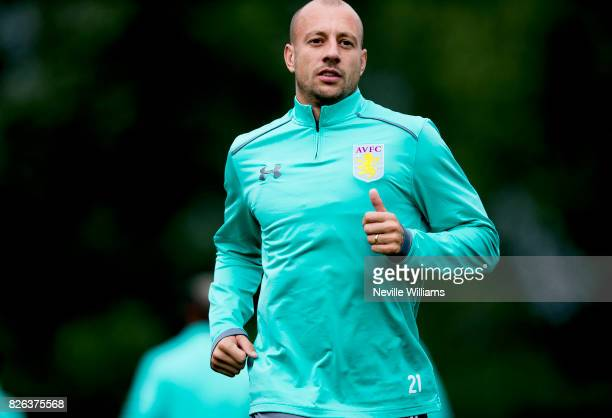 Alan Hutton of Aston Villa in action during a Aston Villa training session at the club's training ground at Bodymoor Heath on August 04 2017 in...