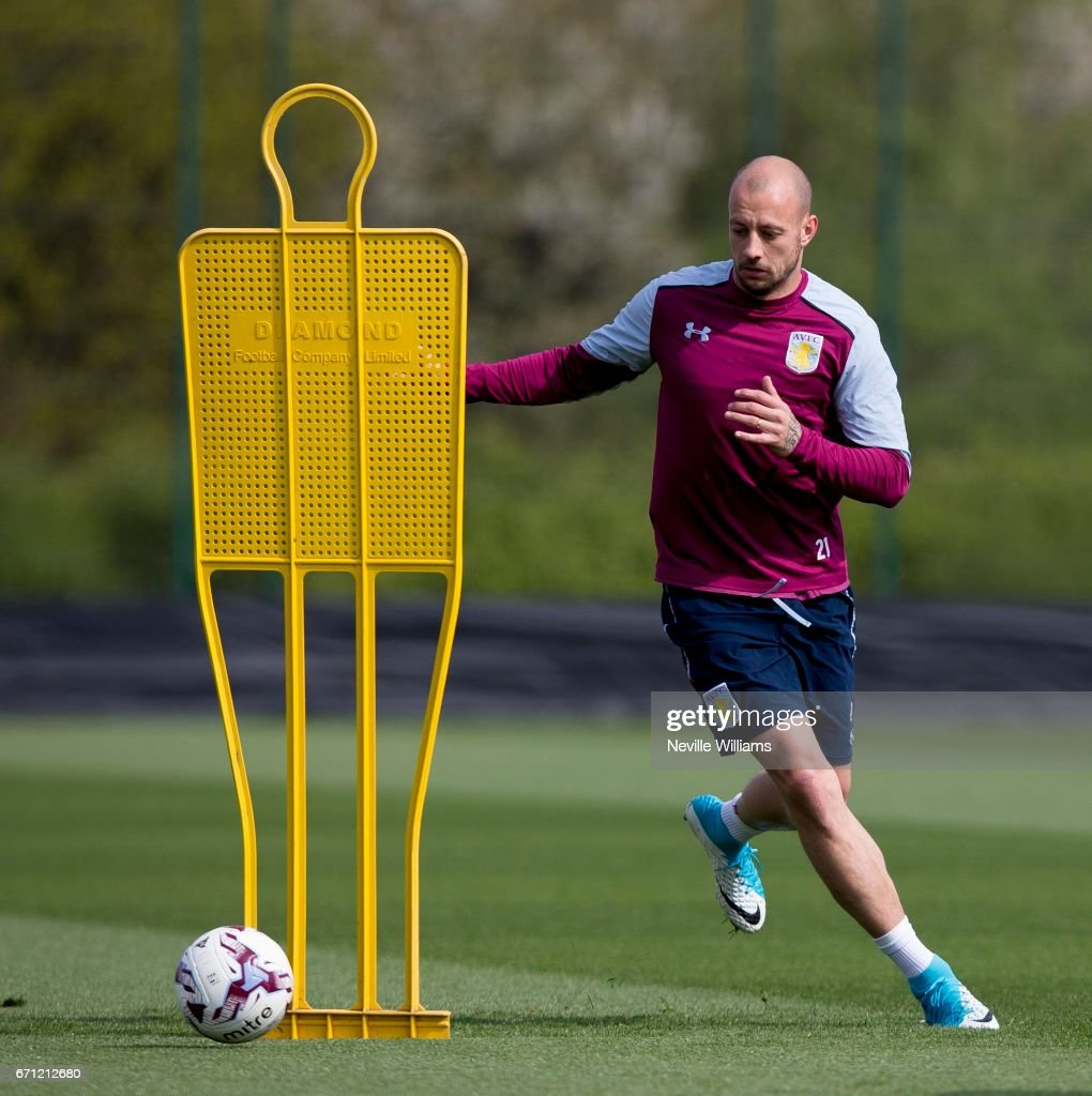 Alan Hutton of Aston Villa in action during at training session at the club's training ground at Bodymoor Heath on April 21, 2017 in Birmingham, England.
