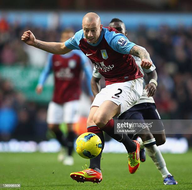 Alan Hutton of Aston Villa in action during the Barclays Premier League match between Aston Villa and Everton at Villa Park on January 14 2012 in...