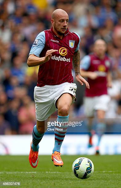 Alan Hutton of Aston Villa in action during the Barclays Premier League match between Chelsea and Aston Villa at Stamford Bridge on September 27 2014...