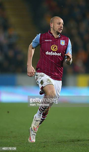 Alan Hutton of Aston Villa in action during the Barclays Premier League match between Hull City and Aston Villa at KC Stadium on February 10 2015 in...