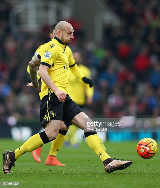 Alan Hutton of Aston Villa in action during the Barclays Premier League match between Stoke City and Aston Villa at Britannia Stadium on February 27...