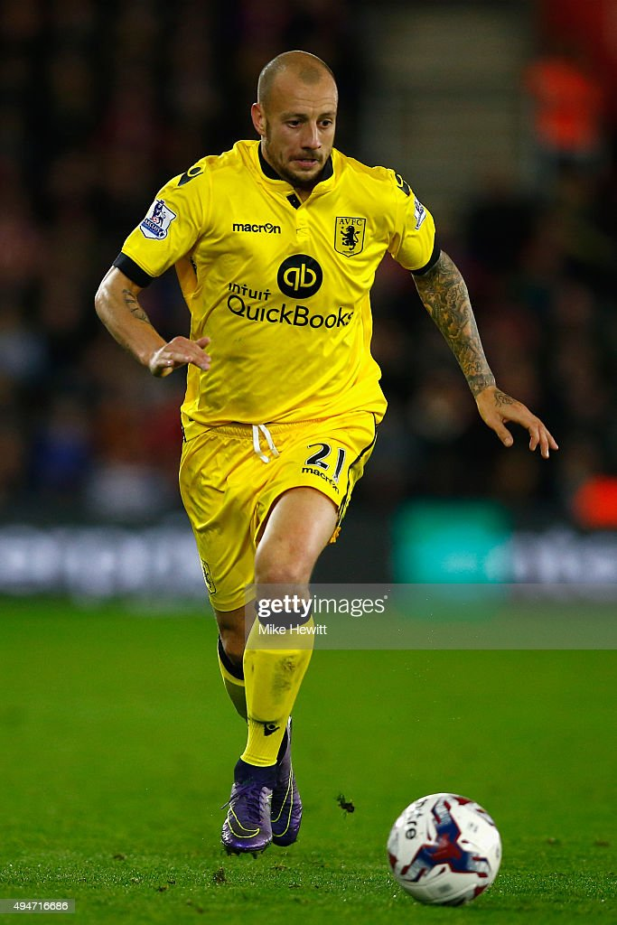Alan Hutton of Aston Villa in action during the Capital One Cup Fourth Round match between Southampton v Aston Villa at St Mary's Stadium on October 28, 2015 in Southampton, England.