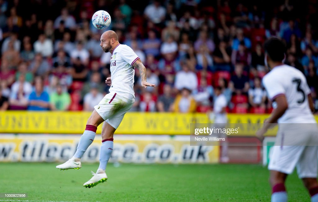 Alan Hutton of Aston Villa in action during the Pre-Season Friendly match between Walsall and Aston Villa at the Bescot Stadium on July 17, 2018 in Walsall, England.