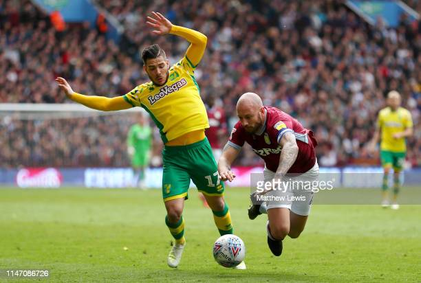 Alan Hutton of Aston Villa is challenged by Emi Buendia of Norwich City during the Sky Bet Championship match between Aston Villa and Norwich City at...