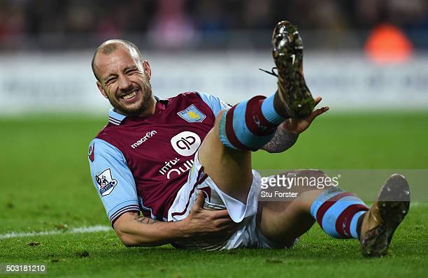 Alan Hutton of Aston Villa reacts during the Barclays Premier League match between Sunderland and Aston Villa at Stadium of Light on January 2 2016...