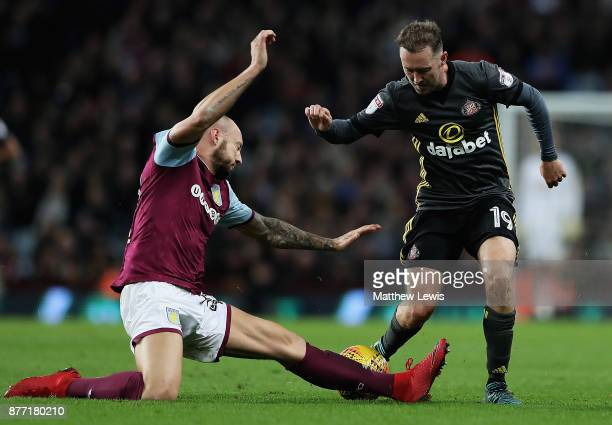 Alan Hutton of Aston Villa tackles Aidan McGeady of Sunderland during the Sky Bet Championship match between Aston Villa and Sunderland at Villa Park...