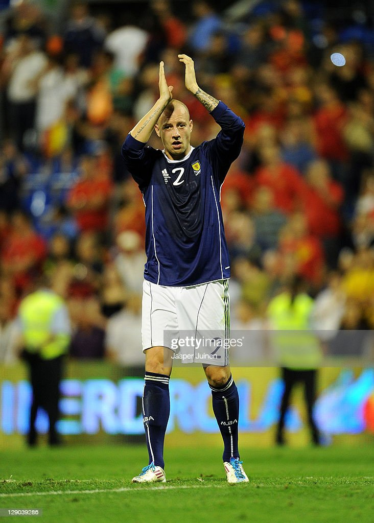 Alan Hutton of Scotland thanks the fans at the end of the UEFA EURO 2012 Group I Qualifier between Spain and Scotland at the Rico Perez stadium on October 11, 2011 in Alicante, Spain.