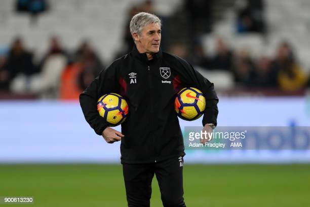 Alan Irvine assistant manager / assistant head coach of West Ham United during the Premier League match between West Ham United and West Bromwich...